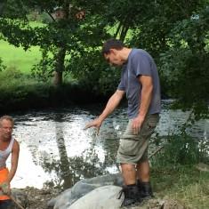 Renovierung Ilmquelle Tandern – Befestigung des Ufers mit großen Steinen