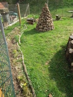Vorher-Bild: An dieser Stelle wird das Wiesenblumen-Beet entstehen. Vorher ein artenarmer Rasen  ...
