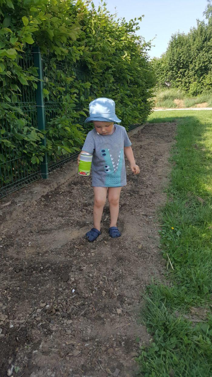 Kitafamilien in Aussähaktion im eigenen Garten