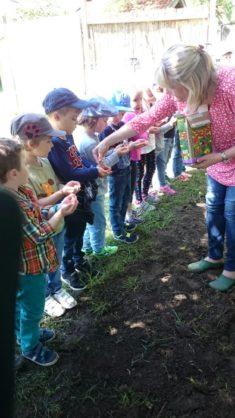 Endlich darf gesät werden… jedes Kind bekommt die Samen in die Hand.