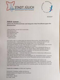 """Pressemitteilung """"Deutschland summt und Jülich summt mit"""""""