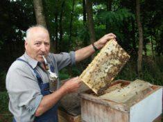 Herr Poller mit seinen Bienen.